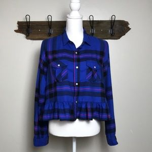 Urban Outfitters Flannel Shirt BDG Ruffle Bottom